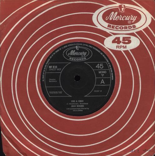 "Julie Rogers Like A Child - Solid 7"" vinyl single (7 inch record) UK JRE07LI709243"
