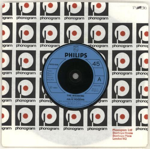 "Julie Rogers The Wedding - Inj 7"" vinyl single (7 inch record) UK JRE07TH715808"