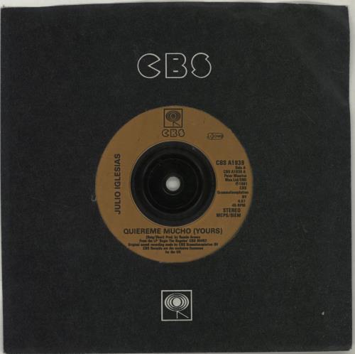 "Julio Iglesias Quiereme Mucho (Yours) - Injection 7"" vinyl single (7 inch record) UK IGL07QU688087"
