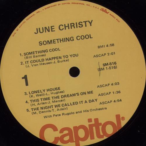 June Christy Something Cool - Yellow Label vinyl LP album (LP record) US JNCLPSO377741