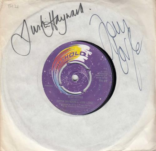 "Justin Hayward & John Lodge Blue Guitar - Autographed by 2 7"" vinyl single (7 inch record) UK ZV007BL714343"