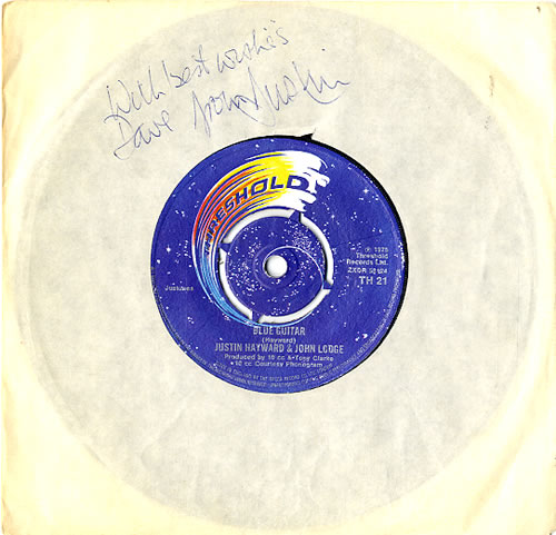 "Justin Hayward & John Lodge Blue Guitar - Autographed 7"" vinyl single (7 inch record) UK ZV007BL607753"