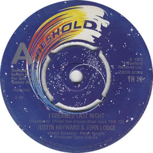"Justin Hayward & John Lodge I Dreamed Last Night 7"" vinyl single (7 inch record) UK ZV007ID186869"
