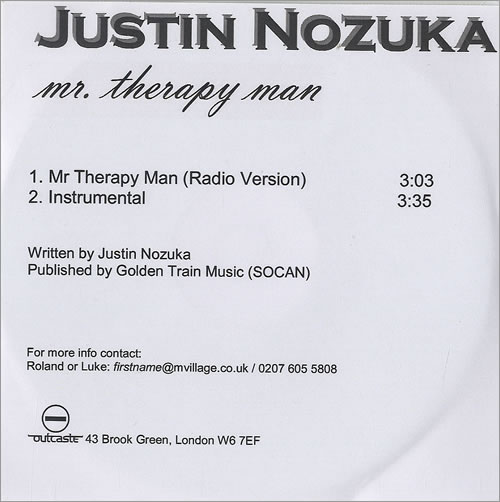 Justin Nozuka Mr Therapy Man CD-R acetate UK NOZCRMR493639