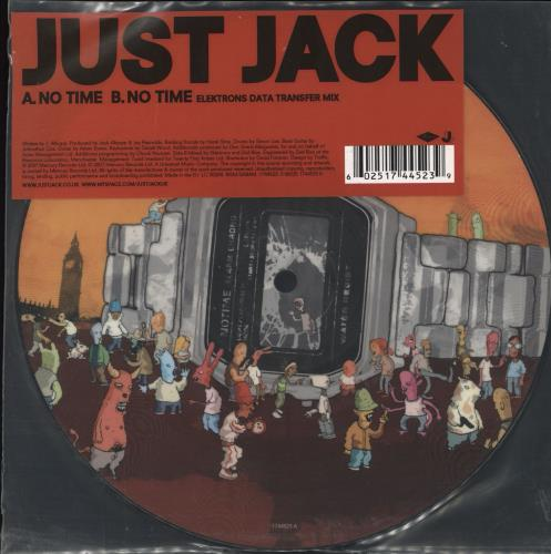 """Just Jack No Time 7"""" vinyl picture disc 7 inch picture disc single UK JUJ7PNO708816"""