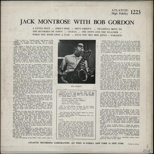 Jack Montrose Jack Montrose With Bob Gordon vinyl LP album (LP record) US JQOLPJA565967