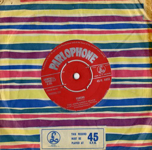 "John Barry (Composer) Pancho 7"" vinyl single (7 inch record) UK JBY07PA560680"