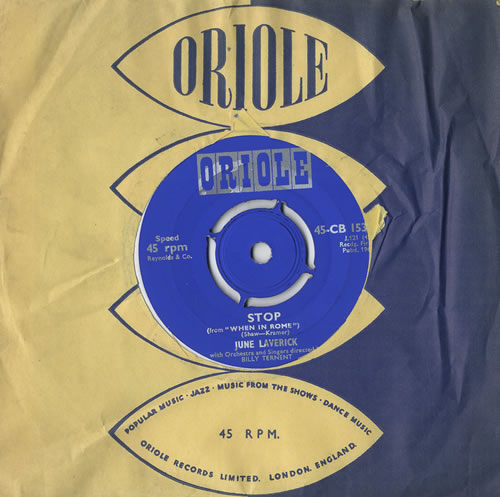 "June Laverick Stop - Split Single With Johnny Webb 7"" vinyl single (7 inch record) UK JL-07ST449309"