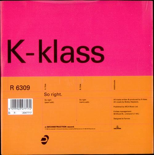 "K-Klass So Right 7"" vinyl single (7 inch record) UK KKL07SO524675"