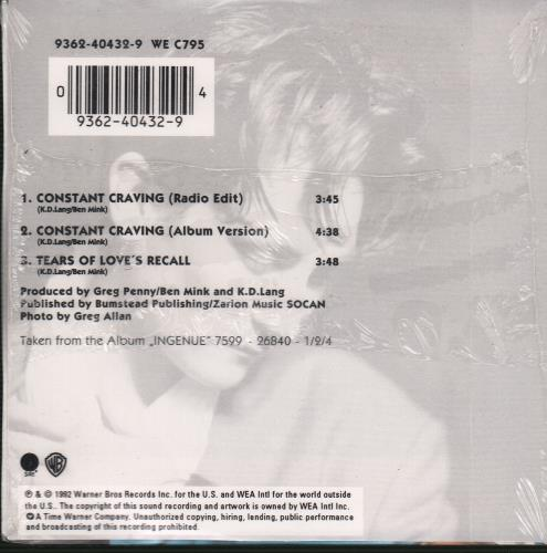 """K.D. Lang Constant Craving - 1st Issue CD single (CD5 / 5"""") French KDLC5CO25389"""