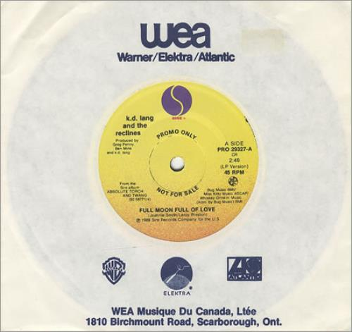 "K.D. Lang Full Moon Full Of Love 7"" vinyl single (7 inch record) Canadian KDL07FU65532"