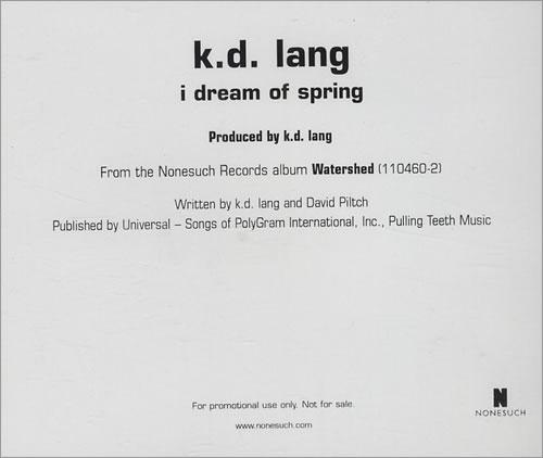 "K.D. Lang I Dream Of Spring CD single (CD5 / 5"") US KDLC5ID430235"