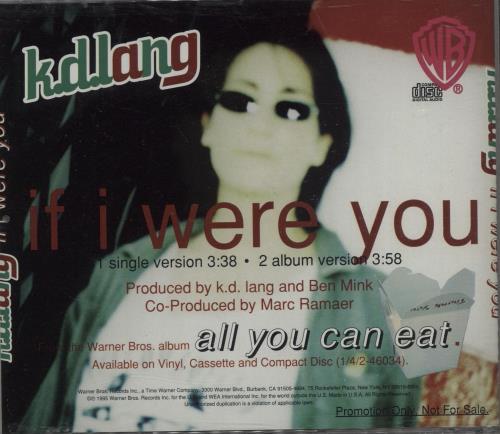 "K.D. Lang If I Were You CD single (CD5 / 5"") US KDLC5IF54300"