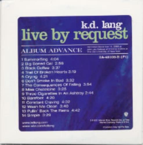 K.D. Lang Live By Request CD album (CDLP) US KDLCDLI190567