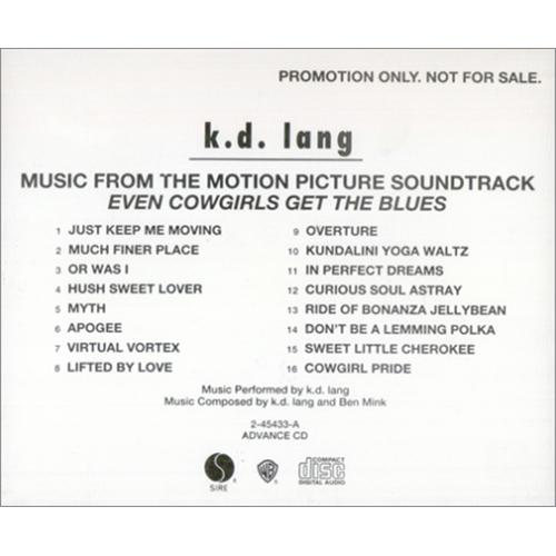 K.D. Lang Music From The Motion Picture... Even Cowgirls CD album (CDLP) US KDLCDMU30029