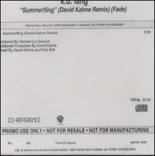 K.D. Lang Summerfling - David Kahne Remix Fade CD-R acetate US KDLCRSU160903