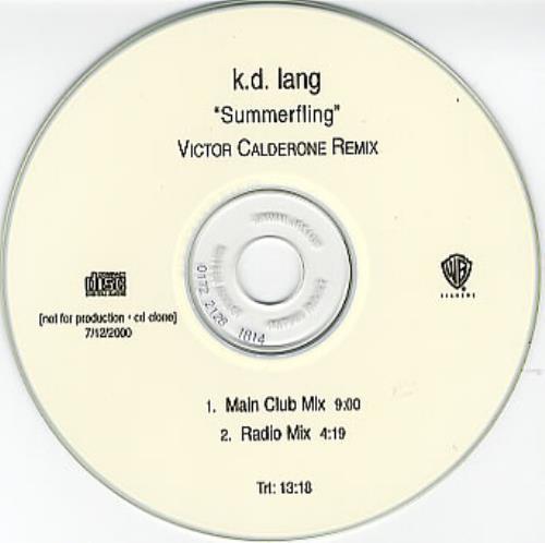 K.D. Lang Summerfling - Victor Calderone Remixes CD-R acetate US KDLCRSU161940
