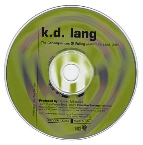 "K.D. Lang The Consequences Of Falling CD single (CD5 / 5"") US KDLC5TH169307"
