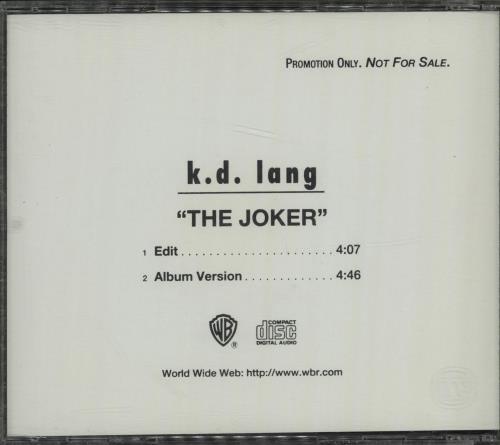 """K.D. Lang The Joker CD single (CD5 / 5"""") US KDLC5TH90462"""