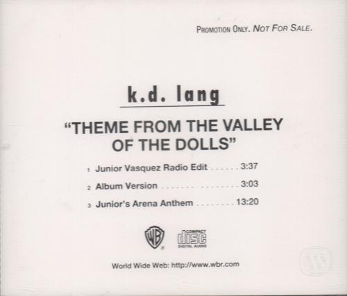 """K.D. Lang Theme From The Valley Of The Dolls CD single (CD5 / 5"""") US KDLC5TH96266"""