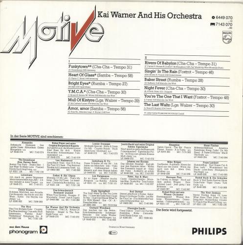 Kai Warner Motive vinyl LP album (LP record) German KWTLPMO691078