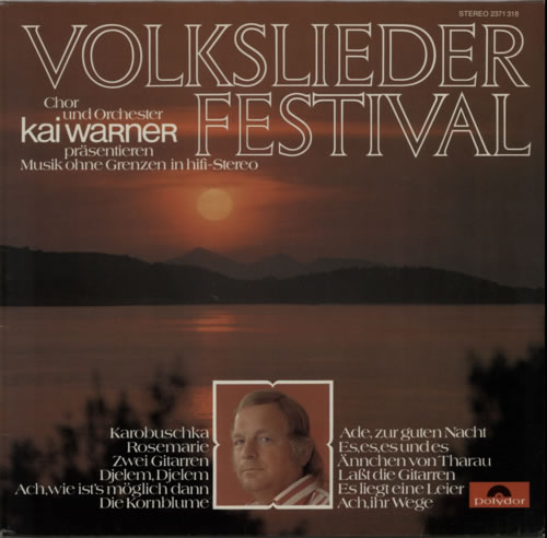 Kai Warner Volkslieder Festival vinyl LP album (LP record) German KWTLPVO604557