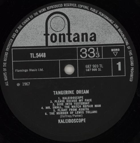 Kaleidoscope (UK) Tangerine Dream - 1st vinyl LP album (LP record) UK KLDLPTA661397