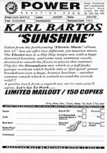 "Karl Bartos Sunshine 12"" vinyl single (12 inch record / Maxi-single) UK KBS12SU282827"