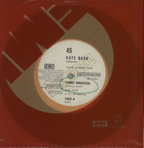 "Kate Bush Cumbres Borrascosas 7"" vinyl single (7 inch record) Argentinean BUS07CU18220"