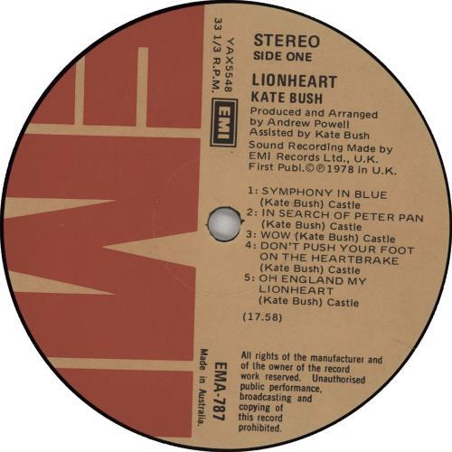 Kate Bush Lionheart - EX vinyl LP album (LP record) Australian BUSLPLI667137