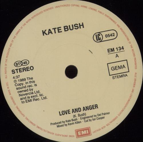 "Kate Bush Love And Anger 7"" vinyl single (7 inch record) German BUS07LO673324"