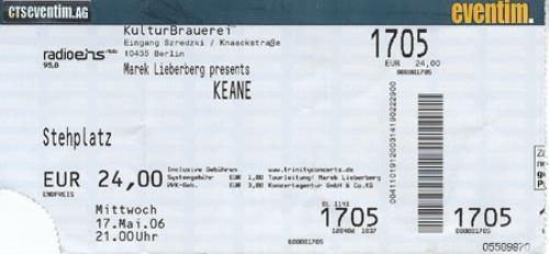 Keane (00s) KulturBrauerei, Berlin concert ticket UK KANTIKU366022
