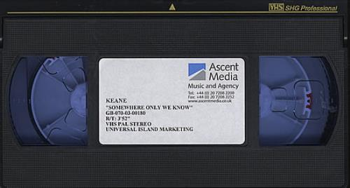 Keane (00s) Somewhere Only We Know video (VHS or PAL or NTSC) UK KANVISO365755