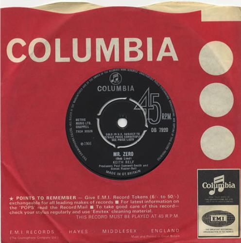 "Keith Relf Mr. Zero 7"" vinyl single (7 inch record) UK KRE07MR405648"