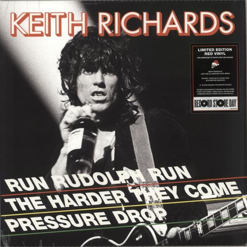 "Keith Richards Run Rudolph Run - RSD BF18 - Red Vinyl 12"" vinyl single (12 inch record / Maxi-single) UK KRI12RU708660"