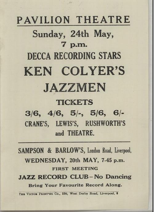 Ken Colyer Pavilion Theatre Sunday, 24th May handbill UK KCJHBPA640373
