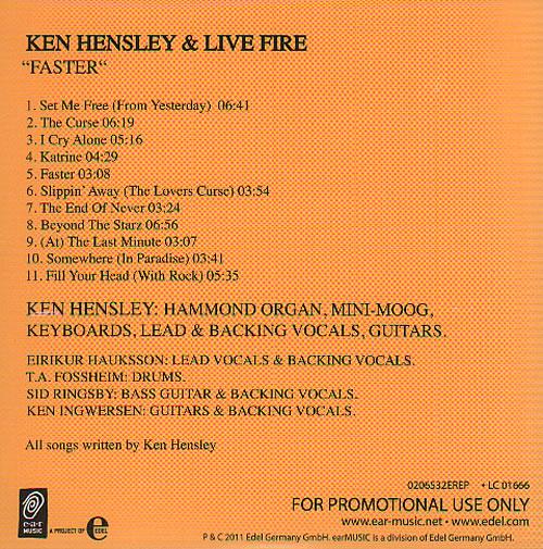 Ken Hensley Faster German Promo Cd Album Cdlp 636505