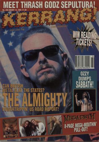 Kerrang! Magazine Kerrang! Magazine - Aug 93 magazine UK K-ZMAKE653624