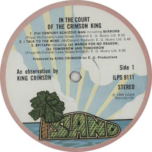 King Crimson In The Court Of - 2nd - Palm Tree vinyl LP album (LP record) UK KNCLPIN544767