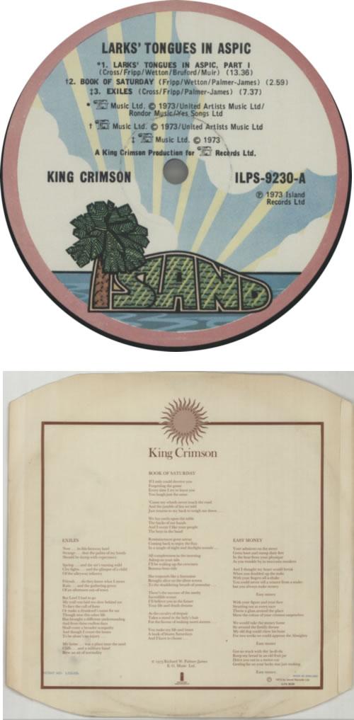 King Crimson Larks' Tongues In Aspic - EX vinyl LP album (LP record) UK KNCLPLA308445