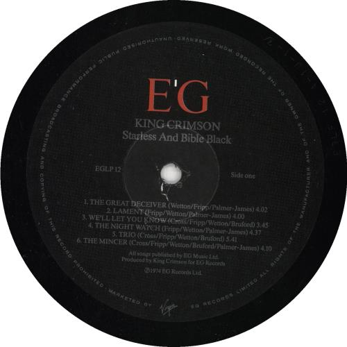King Crimson Starless And Bible Black vinyl LP album (LP record) UK KNCLPST738367