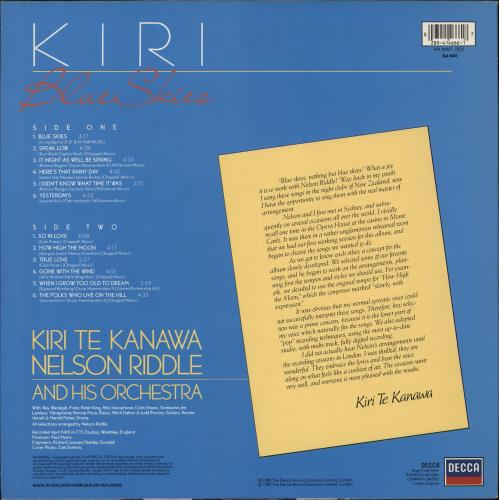 Kiri Te Kanawa Blue Skies vinyl LP album (LP record) Dutch KTKLPBL707392