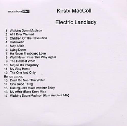 Kirsty MacColl Electric Landlady CD-R acetate UK KIRCREL319354