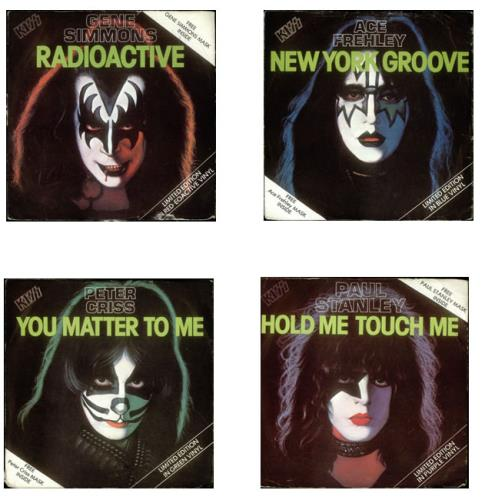 Kiss Set Of Four Coloured Vinyl Solo Singles Masks Uk 7