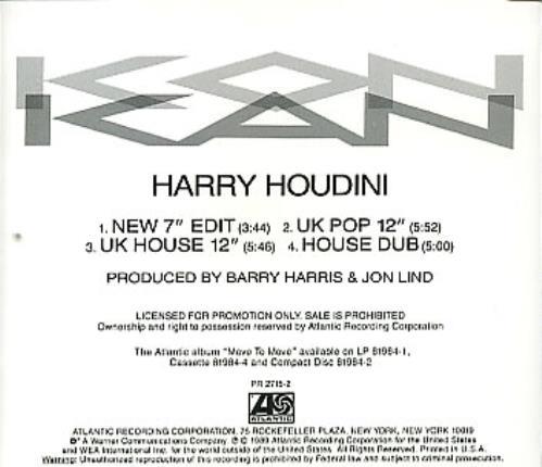 Kon Kan Harry Houdini US Promo CD single (CD5 / 5