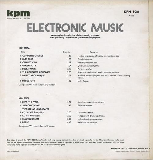 KPM Library Electronic Music UK vinyl LP album (LP record) (563953)