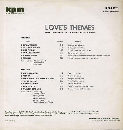 KPM Library Love's Themes UK vinyl LP album (LP record) (563955)