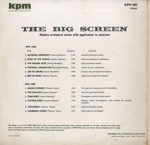 KPM Library The Big Screen UK vinyl LP album (LP record) (564050)