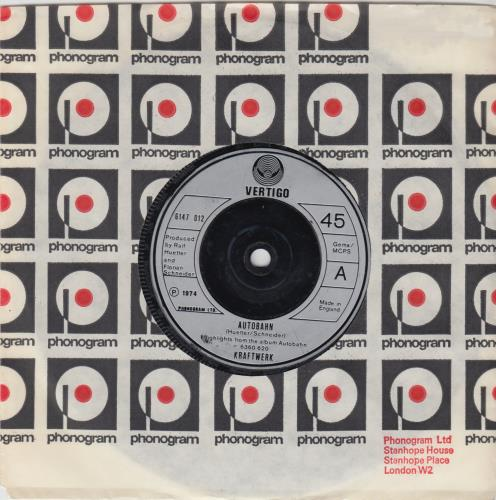 "Kraftwerk Autobahn - Inj 7"" vinyl single (7 inch record) UK KRA07AU129022"