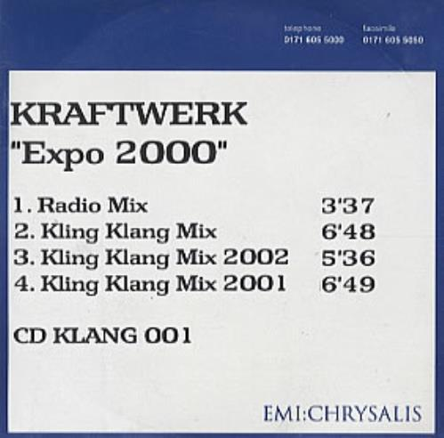Kraftwerk Expo 2000 CD-R acetate UK KRACREX148583